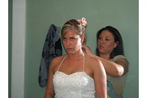 Maid of Honor helping the bride get ready