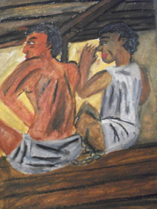 Chained And Bound- This depicts two slaves in the hold of a ship bound for America. These slaves often had to endure deplorable living conditions and hardships while chained to one another awaiting their fates.