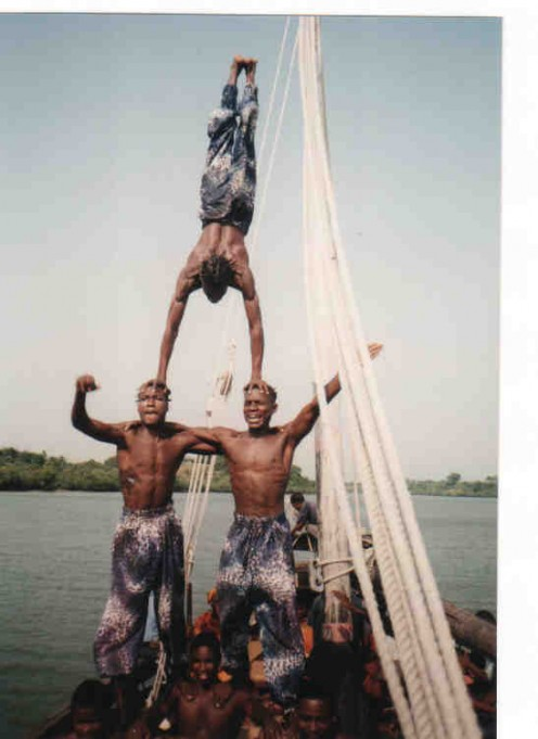 Acrobatics on a Dhow boat.
