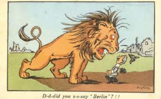Cartoon of the British Lion standing over Kaiser Bill - he nearly taught us a lesson,  It took three years of war before a Brigadier Rawlinson came up with an alternative to Haig's emptying the towns and villages of Britain in the trenches!
