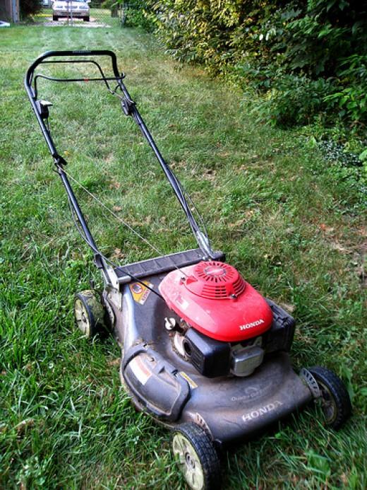 Petrol/gas rotary lawn mower
