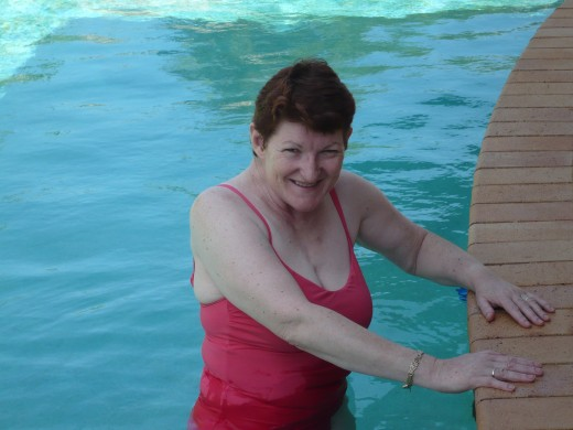 Me in the pool doing exercises after stroke.
