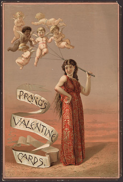 Happy Valentine's Day, with angels, cupid, a banner, etc.  A beautiful piece!