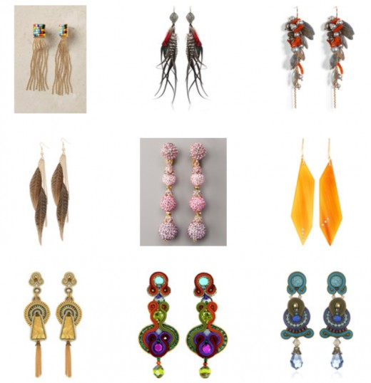notice all earrings are longer and somewhat slender.