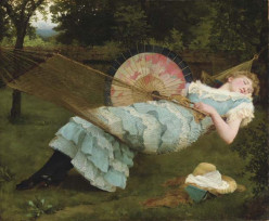 Lovers in art.  Resting in the grass, a Victorian piece.