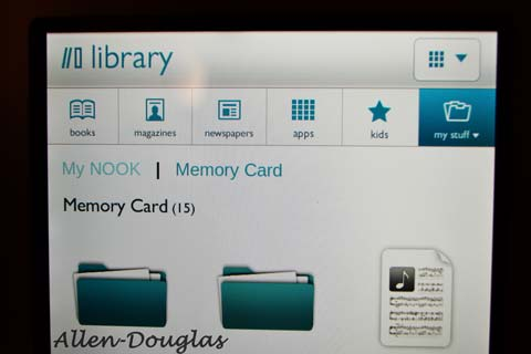 Contents of memory card viewed by Nook Tablet