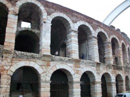 ruins of the Verona arena, a popular tourist site