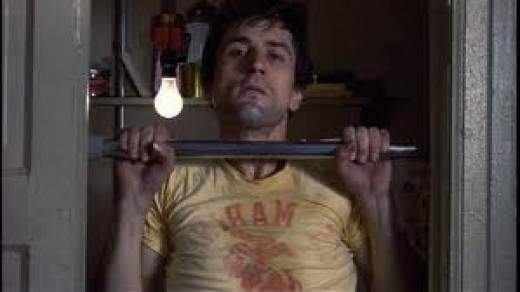 "Robert DeNiro busting out his morning 50 in Taxi Driver. ""Every muscle must be tight..."""