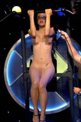 Jade Vixen doing pull-ups in the nude. This was on Howard Stern's World's Strongest Naked Woman contest, broadcast on XM.