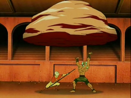 King Bumi, the King of Omashu faces Aang in the arena. This is the scene of their draw.