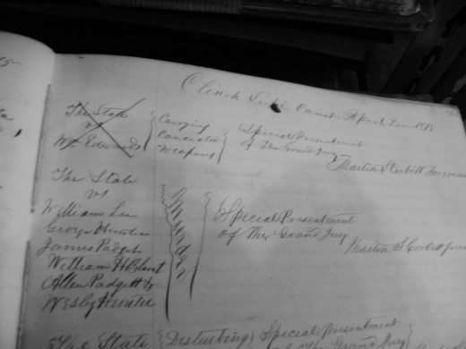 The last entry in the courthouse books concerning the Brady murders case.  Nothing further has been found to this date.