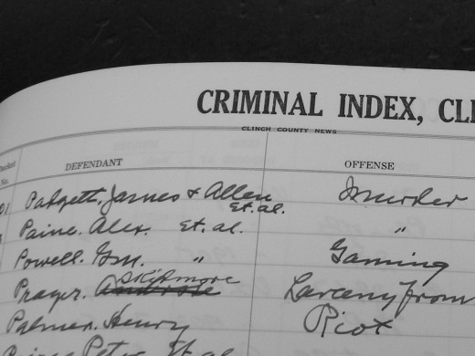 Clinch county Criminal Index showing the names of 2 of the Padgett brothers accused of the murders.