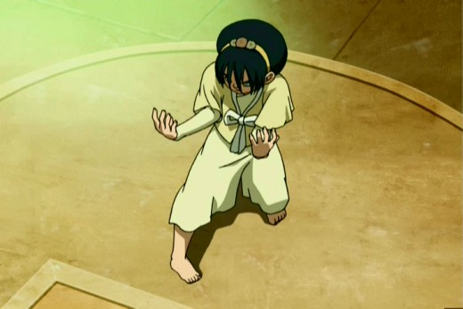 Toph moving a circular piece of the arena to her advantage in battle. This is the scene where she takes down her earthbending rivals in order to rescue Aang from would be bounty hunters.