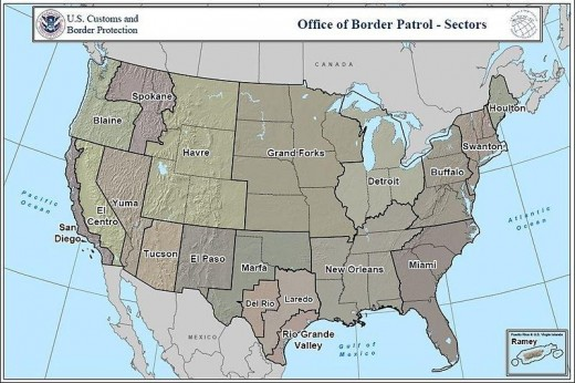 Map of US Customs and Border Protection sectors.