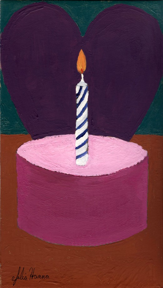 Here is the Valentine cupcake birthday card I designed with my painting.