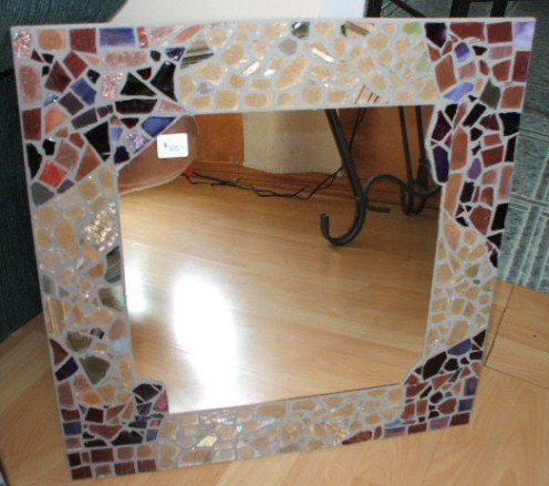 stained glass mirror, stained glass shards and cut, all tumbled