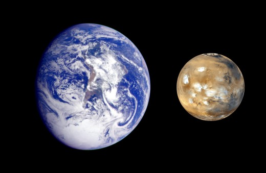 Composite photo of Earth and Mars