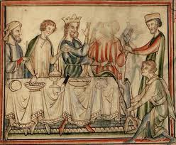 Earl Godwin dies at the Easter Feast at Winchester, 1053 - contemporary illiustration