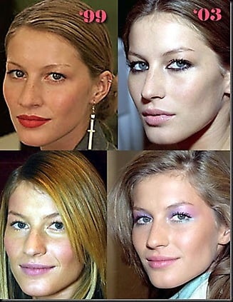 Model Gisele Bundchen, before and after