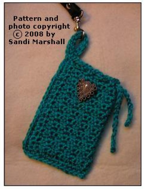 Single Crochet Texture Small Drawstring Bag or Cell Phone Pouch - Free Pattern With How-To Photos