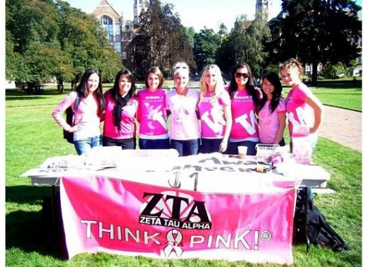 University of Washington Zeta Tau Alpha members raise awareness for breast health and cancer detection.