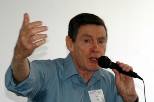 Here I am addressing a Christmas party group of 'Computer Pals,' Christmas 2008.