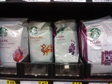 three out of these four coffee bags are dark roast and one is medium