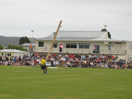 Tossing the Caber at the Highland Games, Waipu