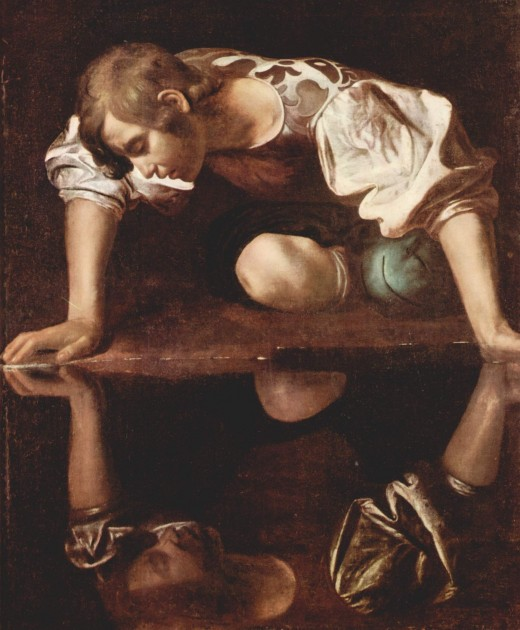 Narcissus painted by Caravaggio