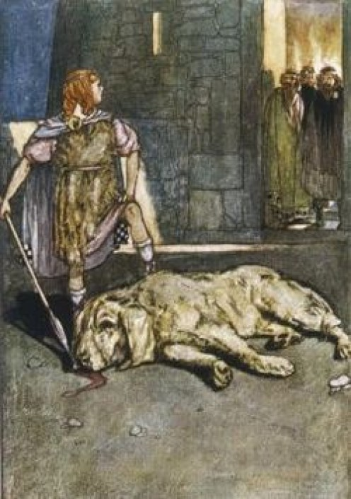 Setanta slays The Hound of Ulster which was owned by Culain and this is how the boy got the name.Cu Chulainn.