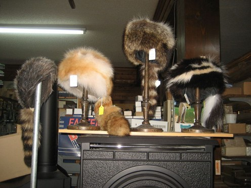 Davey Crockett  style Coonskin Hats - Fur hats at H.J. Smith's General Store, Covington, Louisiana old town section