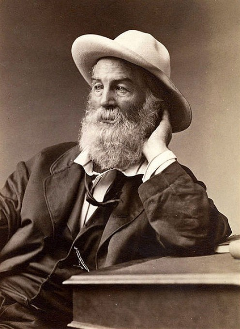 Walt Whitman had nothing on Uncle Henry - Albumen print of a photograph of American poet Walt Whitman, seen seated and wearing a hat, leaning on a table. Photo taken in Brooklyn, New York in September 1872.