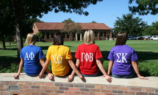 Representatives of the four Panhellenic sororities on the Midwestern State University campus