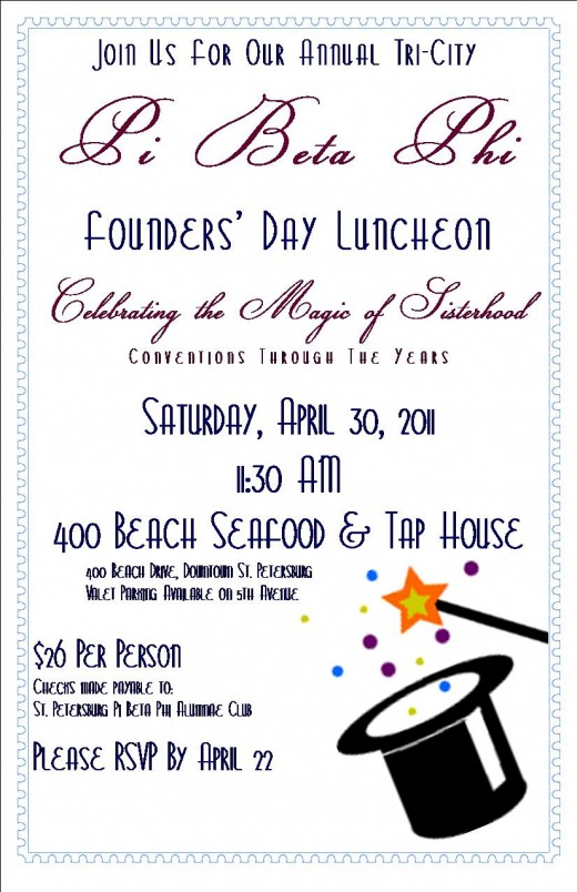 Invitation to a Pi Beta Phi Founders' Day Luncheon