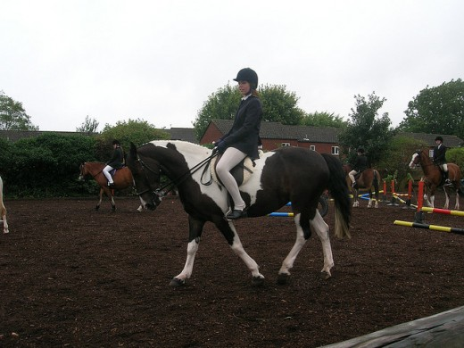 Several riders take part in a group lesson with one of the instructors at Ealing Riding School in London