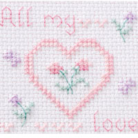 """All my love"" Cross-stitch Stand Card"