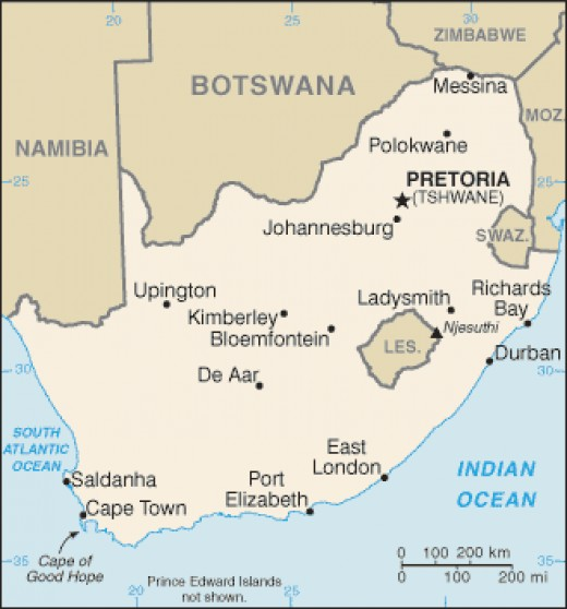 Lesotho and Swaziland are separate countries and nearly surrounded by South Africa.