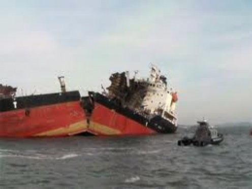 Many ships, including North Korean Navy vessels and this South Korean cargo ship were ripped in two due to the Earth's Wobble.