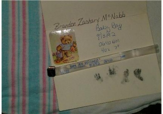 One of the few things I have from my stillborn baby. Footprints, hand prints that are not very good and a bracelet on the blanket he was wrapped in at the hospital. I feel lucky to have these. With my ectopic and miscarriages I had nothing.