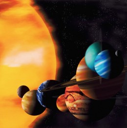 Figure 8. Planets in the Solar System. The last one is Pluto that is now counted as dwarf planet.