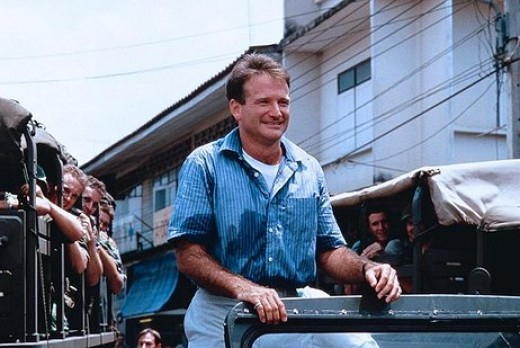 Robin Williams in 1987's Good Morning Vietnam....ranked as his 2nd best ...
