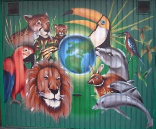 Animals on a garage door in Alcala, Tenerife. Photo by Steve Andrews