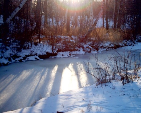 Creek in the Winter in Canada