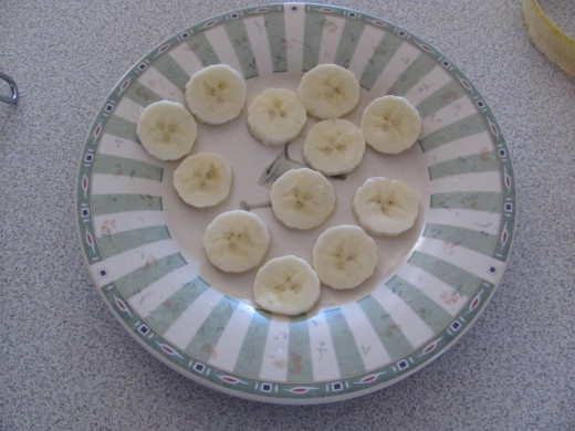 banana slices dipped in lemon juice to keep from browning to use for decorations