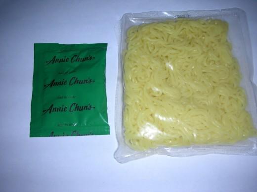 Left: sauce pack Right: ramen noodles