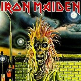 """The album cover from their debut, """"Iron Maiden""""."""