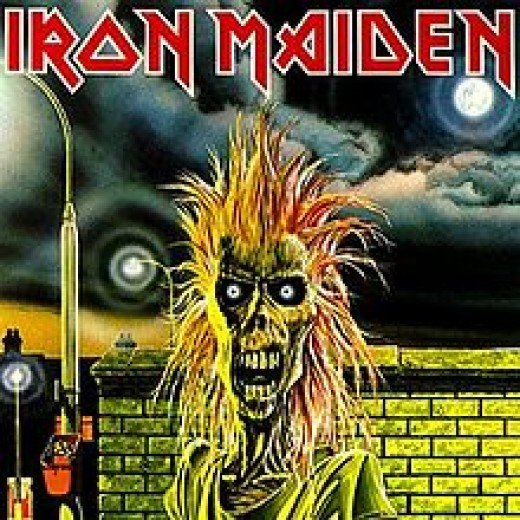"The album cover from their debut, ""Iron Maiden""."