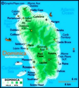 Map of Dominica, West Indies