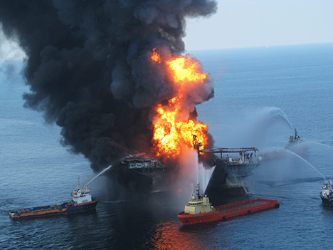 BP's 2010 Deepwater Horizon explosion, fire, and oil spill disaster in the Gulf of Mexico illustrates environmental risk of offshore drilling.