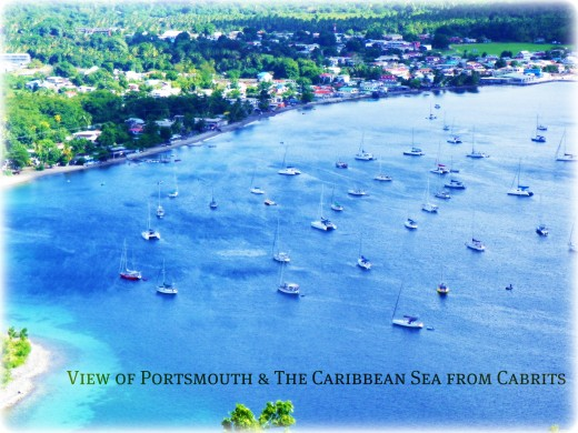 Views incorporating Portsmouth, Prince Rupert Bay beach & the Caribbean Sea
